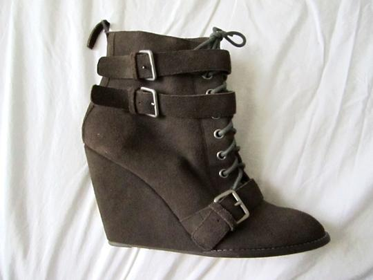 Colonial Madness Gray Wedge Ankle Suede Zipper Laced Straps Brown Boots