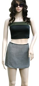 Hugo Buscati Mini Wool Leather Mini Skirt B/W