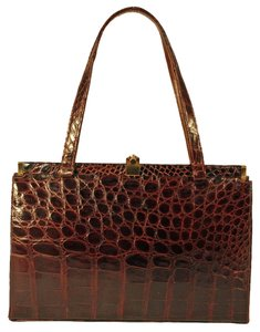 Satchel in Chocolate Brown Alligator