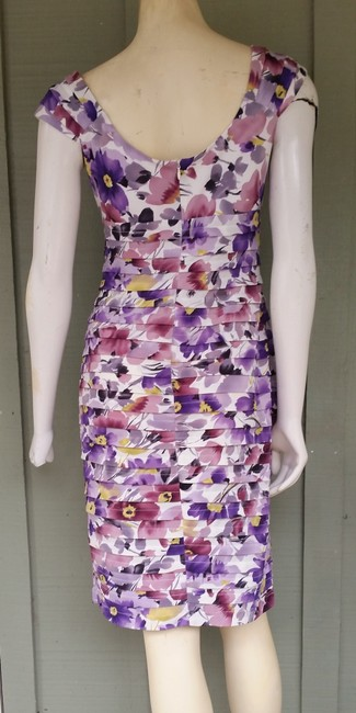 London Times Tiered Floral Purple Stretch Dress