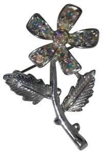 Sarah Coventry Vintage Signed Sarah Coventry Silver Tone & Aurora Borealis Rhinestone Flower Brooch