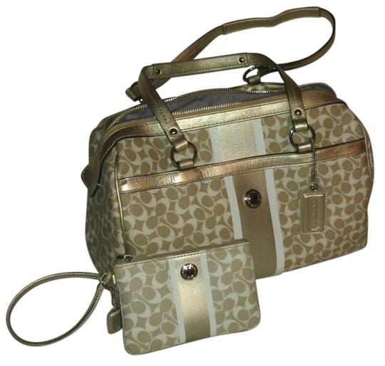 Preload https://item1.tradesy.com/images/coach-light-khaki-and-gold-coated-canvas-leather-satchel-141490-0-0.jpg?width=440&height=440
