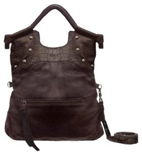 Foley + Corinna Studded Leather Dark Tote in Brown