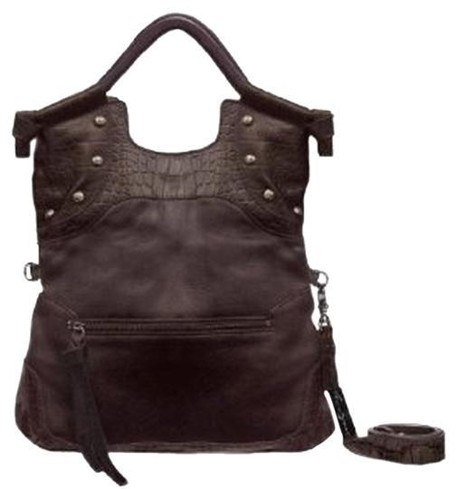 Foley + Corinna Studded Leather Dark Cross Body Tote in Brown