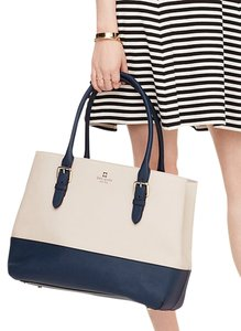 Kate Spade Color Block Tote in Cream & Navy