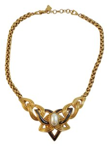 Lanvin Vintage Lanvin Gold Faux Pearl Motif Statement Necklace