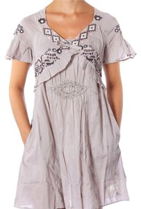 Free People short dress Taupe Embroidered Cotton on Tradesy
