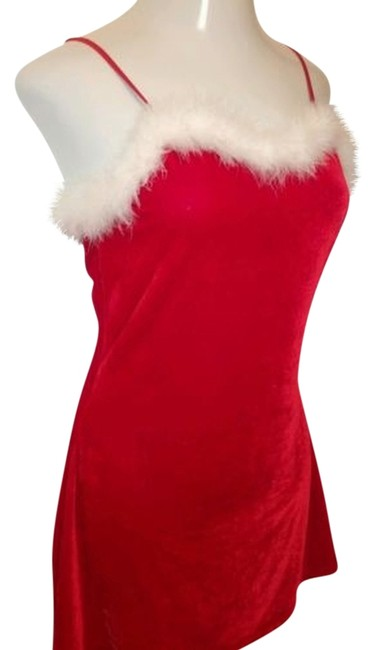 JOLIE INTIMATES NIGHTGOWN GOWN M NWT JOLIE INTIMATES MRS SANTA RED VELOUR WHITE FEATHERS