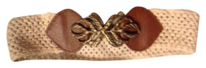 Francesca's Francesca's Cream Woven Belt with Bronze Leaf Detail