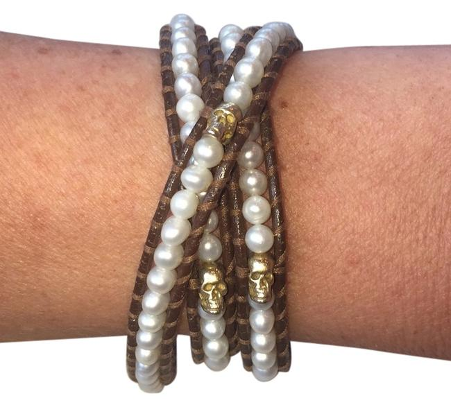 Chan Luu Leather Pearl and Skull Bracelet Image 1
