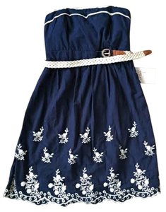 Other short dress Navy Strapless Belt Keyhole Floral on Tradesy