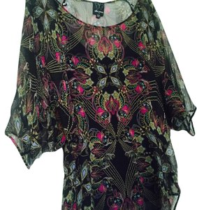 Ella Moss Top Black/ floral