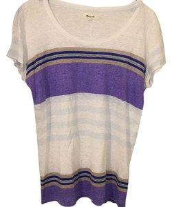 Madewell T Shirt White with purple, tan, navy, blue, and orange stripes