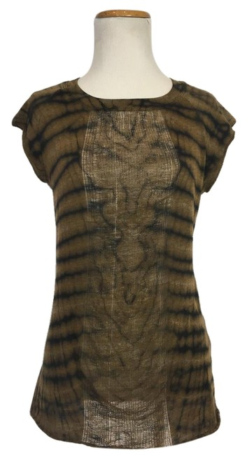 Item - Brown/Black Ochre Colored Signature Tie Dye Tshirt Tank Top/Cami Size 2 (XS)