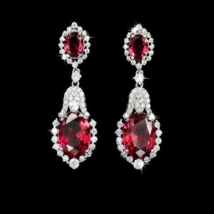 Red Cubic Zirconia Teardrop Sparkly White Crystal Dangle Bridesmaid Gift Earrings