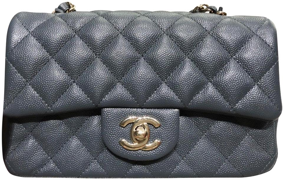 e9818f0e4e5a3d Chanel Classic Flap Mini Quilted Gris Fonce Caviar Ghw Gray Leather ...