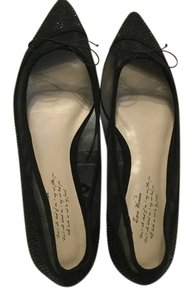 Zara Padded Insoles E40 Black suede leather see through mesh beads and bow Flats
