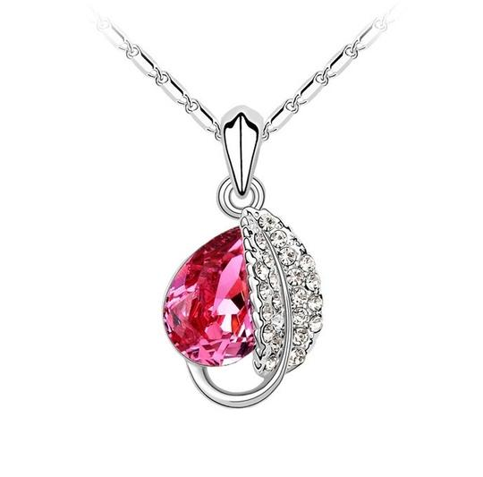 Other Silver Plated Wedding Love Oval Red Stone Cz Zircon Pendant necklace