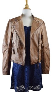 Blu Pepper Faux Leather Classic Nut Brown Jacket