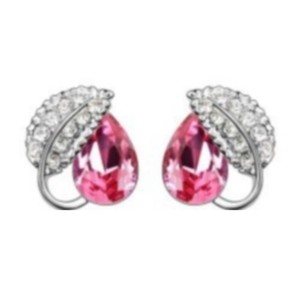 Other Silver Plated Jewelry Set Wedding Love Oval red Stone Cz Zircon earrings