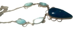 Other Blue Agate Gemstone & Shell 925 Silver Necklace J414