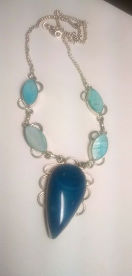 Other Blue Sterling Silver Agate Gemstone & Shell Necklace J414
