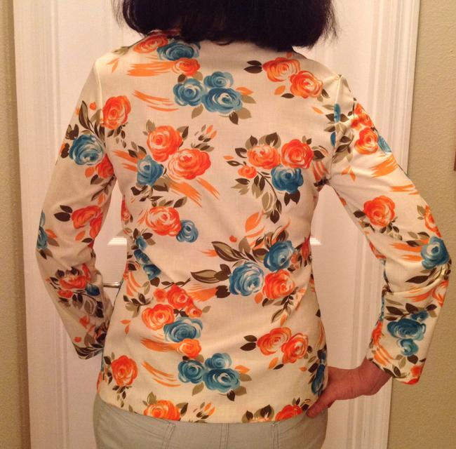 Vintage Polyester Orange Teal Button Down Shirt MULTI