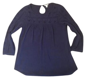 Cut-out Bohemiam Romantic Top Navy eyelet
