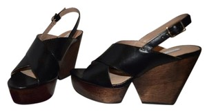 Diane von Furstenberg Black Slingback Open Toe Black/Brown Platforms