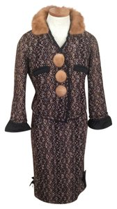 Louis Vuitton Louis Vuitton Tweed Skirt Suit - Brown/Black/Cream