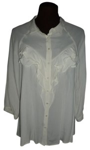 Anthropologie New Lace Back Ruffled Front Top Ivory