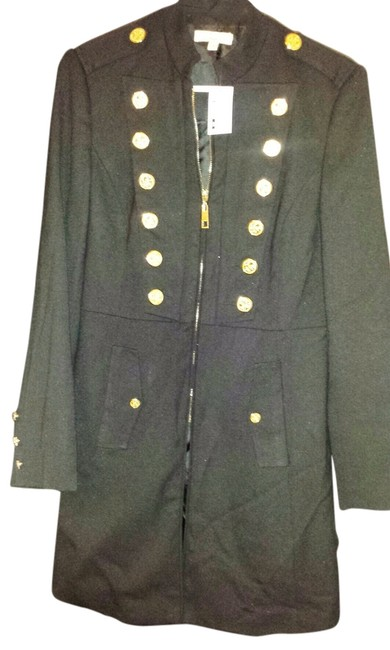 Item - Black Zip Up Trenchcoat with Gold Buttons Jacket Size 6 (S)