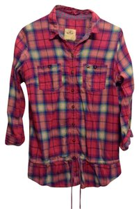 Hollister Button Down Shirt Pink Plaid
