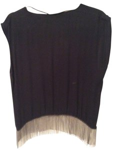 Zara Sleeveless Top Black with Silver Chain Fringe