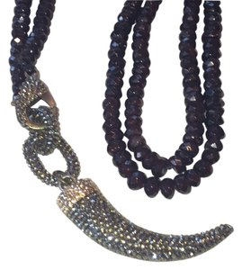 Garnet and pave horn necklace