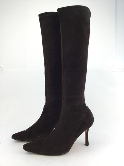 Manolo Blahnik Pascalare Suede Knee High Brown Boots