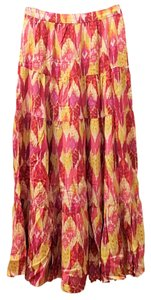 Forever 21 Ikat Maxi Tiered Boho Maxi Skirt Multicolor