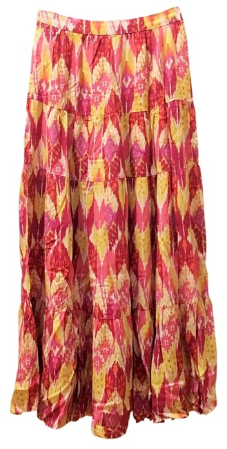 Forever 21 Ikat Tiered Boho Bohemian Maxi Skirt Multicolor