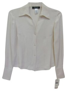 d94eb823f2444 Jones New York Blouse Silk Long Sleeves With Tags Button Down Shirt LIGHT  CREAM