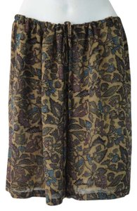 Anne Klein Floral Print Dress Shorts Fossil Tan with Deep Rose, Chestnut & Peacock Blue