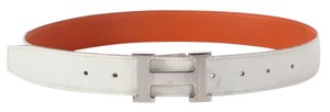 Hermès White H Belt With Silver Buckle