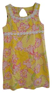 Lilly Pulitzer short dress Yellow with Pinks, Green and White Girls Girls 14 Cotton Hidden Zipper Preppy Florida Spring Break Cruise Country Club Sheath on Tradesy
