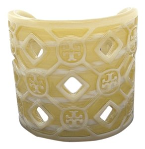 Tory Burch Tory Burch Perforated Resin Logo Cuff Bracelet Horn