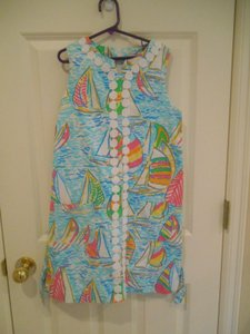Lilly Pulitzer short dress Blue with Multi-color Sailboat Nautical Girls Sailing Regatta Classic Traditional Pockets Lace Cotton Lined Back Zip Classy Country Club Xxs on Tradesy