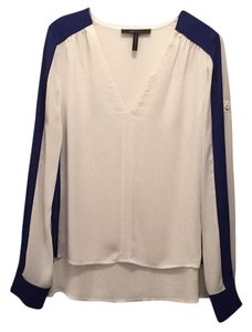 BCBGMAXAZRIA Top White & Royal Blue
