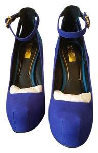 Jessica Simpson Leather Suede Blue and Turquoise Blue Pumps