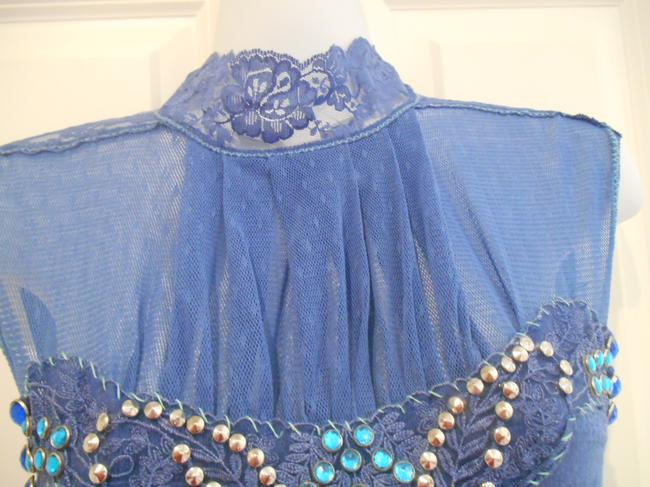 Free People Anthropologie Small S Cotton Lace Rhinestones Bottons Fancy Holiday Shirt Victorian Edgy Earthy Artsy Dressy Top Blue