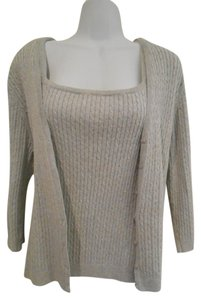 Jeanne Pierre Cotton Cableknit Set Cardigan Shell Sleeves Sleeveless 2-piece Two For One Office Work Dressy Casual Set Shirt Sweater
