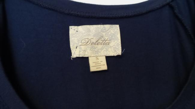 Anthropologie Embroidered Knit Oversized Deletta Top Navy Blue