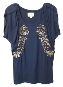 Deletta Anthropologie Knit Embroidered Viscose Top Navy Blue